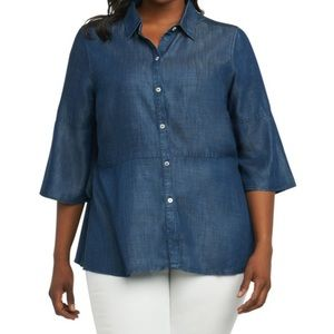 Foxcroft Chambray bell sleeve button down shirt